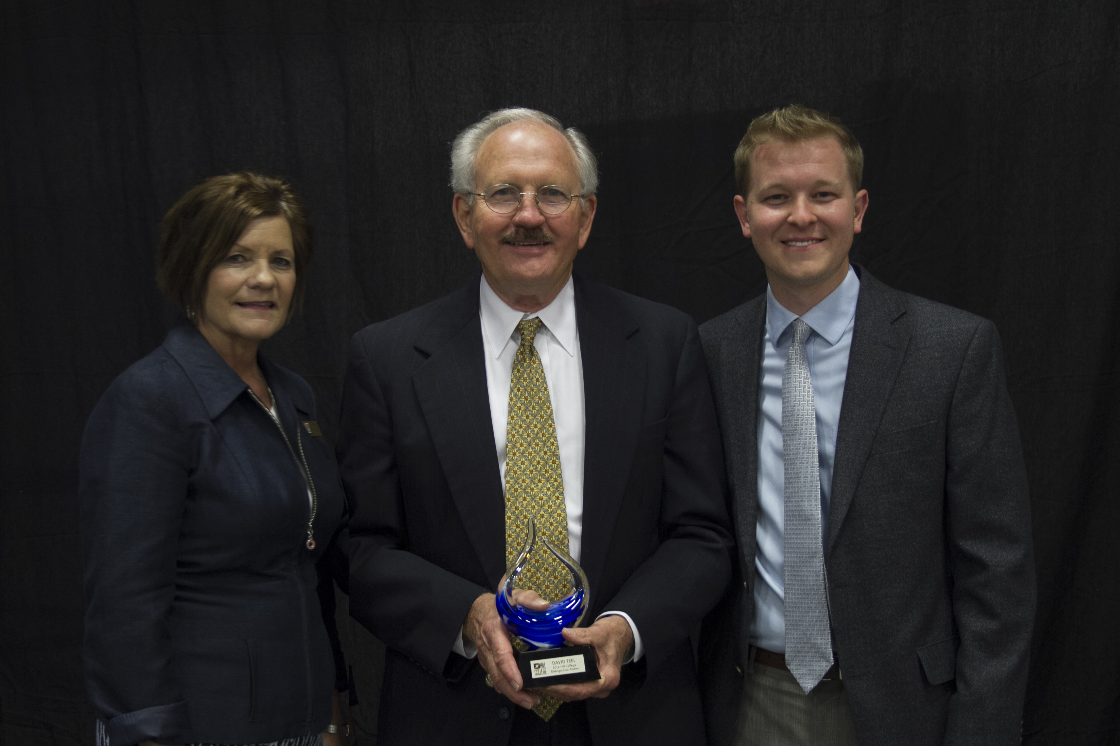 Pictured (from left) are Hill College President Dr. Pam Boehm, Hill College Board President and 2016 Distinguished Alumni recipient David Teel, and Hill College Associate Director of Development Preston McReynolds (photo by TONI REJCEK).