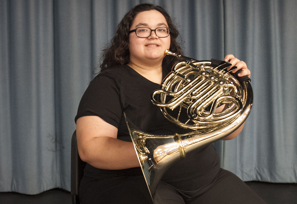 Olivia Santos, selected to first chair French Horn, Texas Community College All-State Band